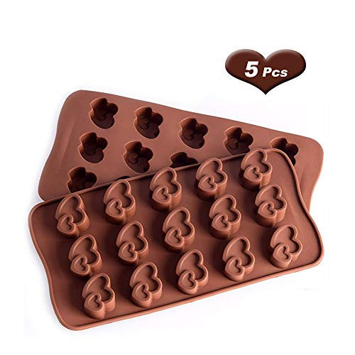 Silicone Non-stick Chocolate Candy Molds, Pack of 5(Double love)