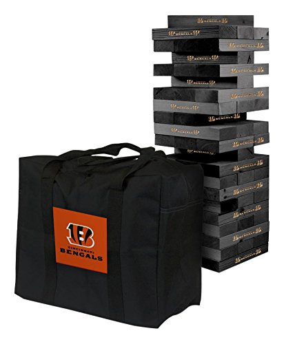 NFL Cincinnati Bengals Cincinnati Onyx Stained Giant Wooden Tumble Tower Game, Multicolor, One Size by Victory Tailgate