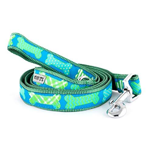 0.625' Ribbon - The Worthy Dog   Preppy Bones Blue Lead  Designer Pet Dog Leash , Blue, 5/8