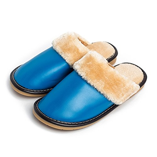Fuzzy Shoes Home Comfy Slippers For Leather Indoor Blue Warm Lined Women q15wzwT