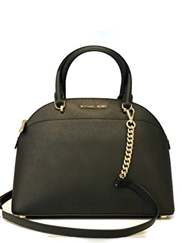 MICHAEL Michael Kors Large Dome Emmy Saffiano Leather Satchel Shoulder Handbag - Black