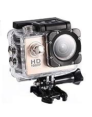 Mini DV-sportcamera, waterdichte buitensportactiecamera 1080P HD-camcorder, 2 inch high-definition scherm, 90 graden brede kijkhoek, goed voor fietsen, wandelen, zwemmen, skiën (7 kleuren)(Goud)