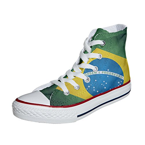 Converse All Star zapatos personalizados (Producto Artesano) con bandera Brasile