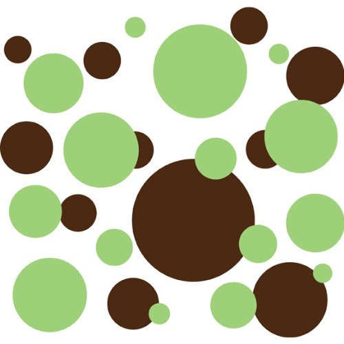 Brown Polka Dot Peel - Drama Decor 136 Polka Dot Peel & Stick Wall Decals, Key Lime Green & Brown