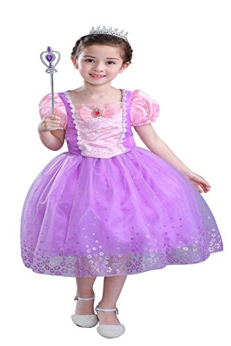 Gown Short Sleeved Costumes (Girl's short sleeved long hair princess dress, birthday dress, wedding dress (140CM))
