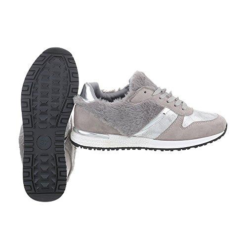 Grigio 25 G Sneaker Scarpe Ital da Piatto Sneakers Low Donna 1 Design wqp8vp6