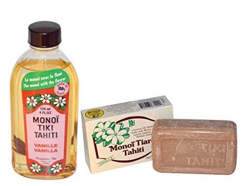 Monoi Tiki Tahiti Vanilla and Monoi Tiare Tahiti Vanilla Soap Bar With Tiare Flowers, Coconut Oil and Vitamin E, 4 fl. oz. and 4.55 oz ()