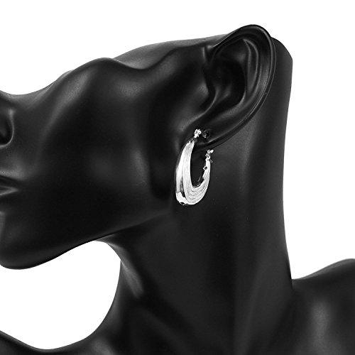 lureme®Mode Style Plaqué argent Screw Thread Shaped Hoop boucles d'oreilles(02005124)
