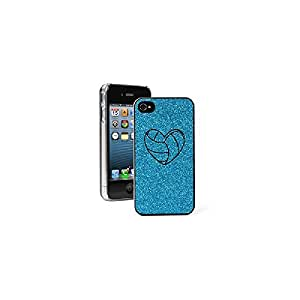 Apple iPhone 4 4S Glitter Bling Hard Case Cover Heart Volleyball (Light Blue)