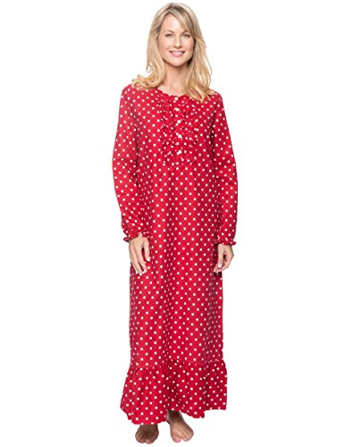 Women's Premium Flannel Long Gown - Dots Diva Red - Small