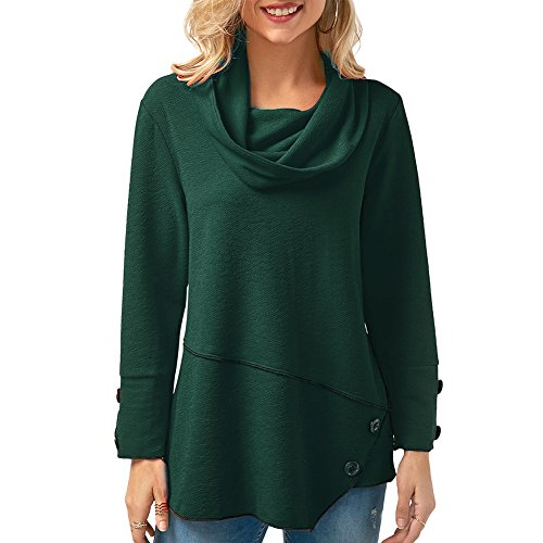 CINDY LOVER Womens Turtleneck Cowl Neck Tops Patchwork Shirts Oversized Tunic Long Sleeve Pullover Green (Green Sweater Top)