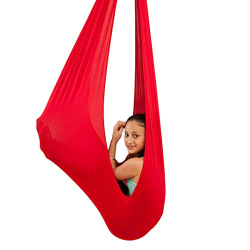 (Quility Indoor Therapy Swing for Kids with Special Needs | Lycra Snuggle Swing | Cuddle Hammock for Children with Autism, ADHD, Aspergers | Ideal for Sensory Integration (Up to 77lbs, Red))