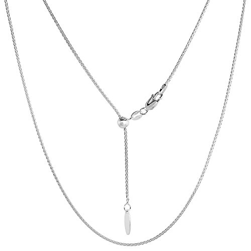 Sterling Spiga Chain 925 Silver - Sterling Silver Adjustable Spiga Wheat Chain Necklace 1.2 mm Nickel Free Italy, 22 inch