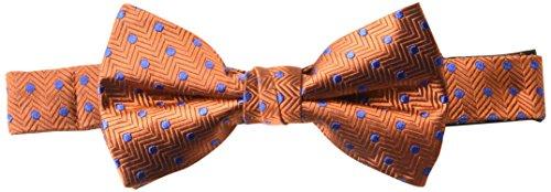 BUTTONED DOWN Men's Classic Silk Pre-Tied Bow Tie, orange dot, One Size