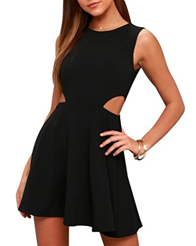 BELONGSCI Women Sweet and Cute Sleeveless Racerback Flared Swing A-Line Waist Hollow Out Summer Short Dress Black (Plain Homecoming Dress)