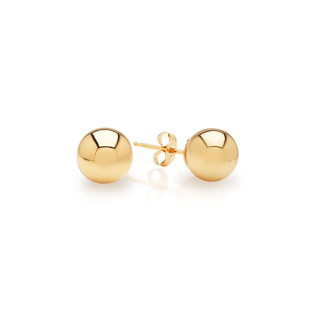 14k Yellow Gold Ball Stud Earrings pushback 3 4 5 6 7 8 10 12 14 MM (7mm) by IcedTime