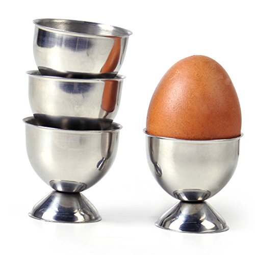 Marketworldcup-New 4x Stainless Steel Soft Boiled Egg Cups Egg Holder Tabletop Cup Kitchen (Hi Rise Soap)