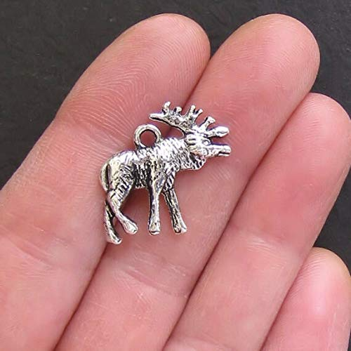 Extensive Collection of Charm 4 Moose Charms Antique Silver Tone 2 Sided - SC640 Express Yourself