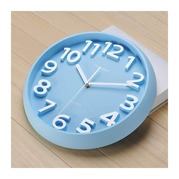 Plumeet 13'' Large Wall Clock - Silent Non-Ticking Quartz Wall Clocks for Living Room Decor - Modern Style Suitable for Home Kitchen Office - Battery Operated (Blue) - Wall Clocks for Living Room -- large numbers bulged out over blue dial face, super quiet & non-ticking, easily to see and read 13 inch diameter round frame. Eye-Catching Numeric -- Large and clear 3D intuitive numeric indicator at every hour and minute tracker make it easy to see from any corner of your room . Super Silent -- Precise quartz movements to guarantee accurate time, quiet sweep second hand ensure a good sleeping and work environment. - wall-clocks, living-room-decor, living-room - 41eMSmQk7ML. SS570  -