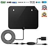 HDTV Antenna,50 Mile Range Digital TV Receiver with Detachable Amplifier, USB power supply and 16.4ft Coax Cable,Indoor TV Antenna Black Upgrated Version(2018 New version,supports formart 1080p,4K)