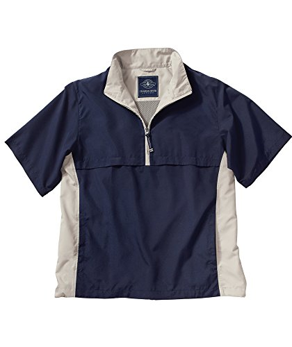 Charles River Ace Short Sleeve Windshirt-Navy/White Sand-3XL