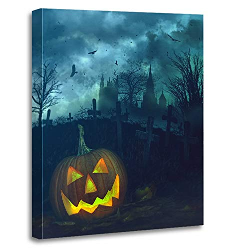 Emvency Painting Canvas Print Artwork Decorative Print Orange Cemetery Halloween Pumpkin in Spooky Graveyard Clouds Eerie Scary Church Wooden Frame 16x20 inches Wall Art for Home Decor
