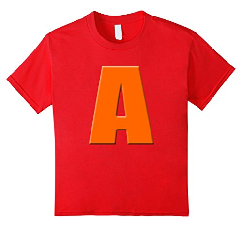 Kids Kids Red cranberry color letter A halloween costume 2d tee 12 Red (Halloween Costumes Letter E)