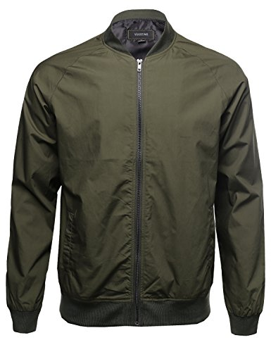 Classic Basic Style Zip up Long Sleeves Bomber Jacket Olive Size (Mens Bomber Jacket)