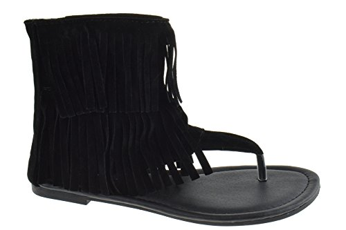 5205859f6787 Forever Anika 56 Womens Fringe Thong Flat Gladiator Sandals Black - Buy  Online in Oman.