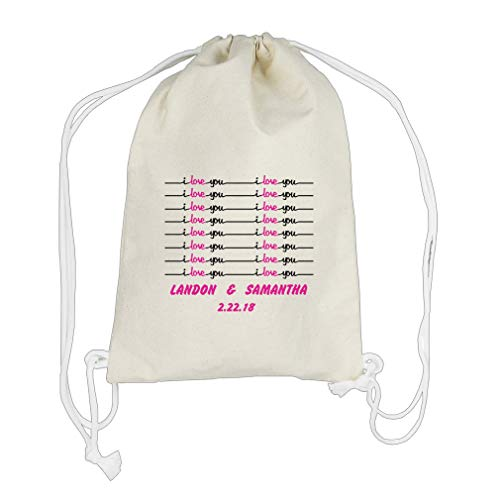 Lab Worksheets (Custom love you handwriting worksheet Cotton Canvas Backpack Drawstring Bag)