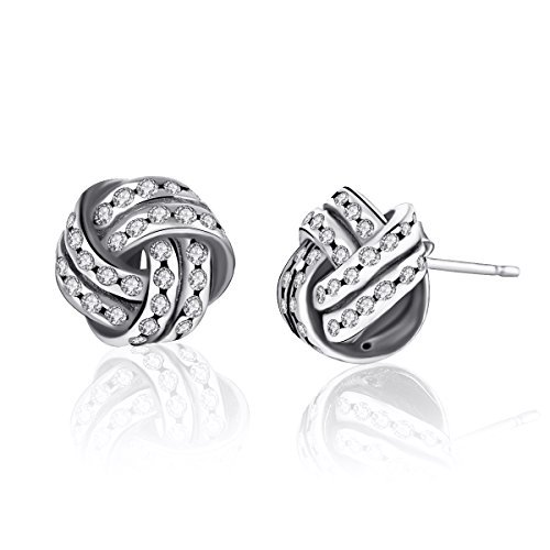Twenty Plus Sterling Silver Decorated with Cubic Zircona, Sparkle Love Knot Weave Earrings Best Gift for Women and Girls