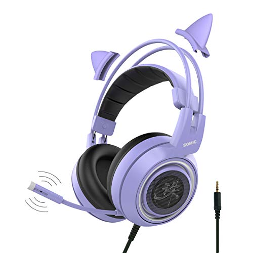 SOMIC G951 Purple Gaming Headset with Mic for PS4, Xbox One, PC, Mobile Phone, 3.5MM High Quality Sound Detachable Cat Ear Headphones Lightweight Over-Ear Headphone Self-Adjusting Gamer Headsets