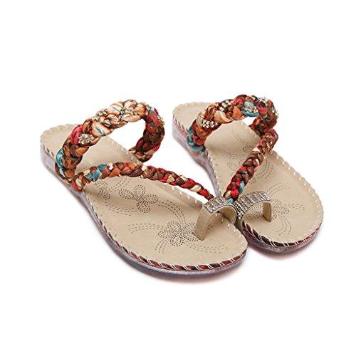 A Schuhe süße größe und Casual Mode Farbe Hausschuhe CN39 Sommer UK6 bequeme Hausschuhe Sandalen A EU39 Tragbar Flache Schuhe LIXIONG Modeschuhe qawPZX0x