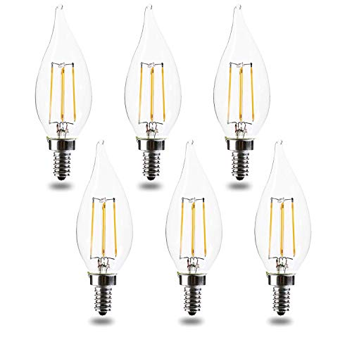 60 Watt Equivalent Candelabra Base led Bulbs E12 CA11 Dimmable 2700K Warm White 4.5W 450LM CA11 Flame Tip Vintage LED Filament Candle Bulb UL Listed (6pack)