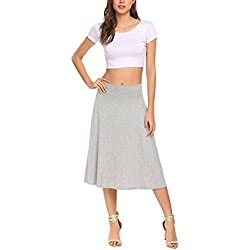 Qearal Flowy Skirts for Women Knee Length A Line High Waisted Flared Skirt (Gray, M)
