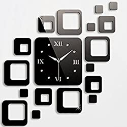 CHU HE Black Squares Luxury Mirror Wall Clock Art DIY Clock Mirror Stickers/Wall Stickers/Wall decals/Wall tattoos for Home Decoration,Clock Mirror Stickers