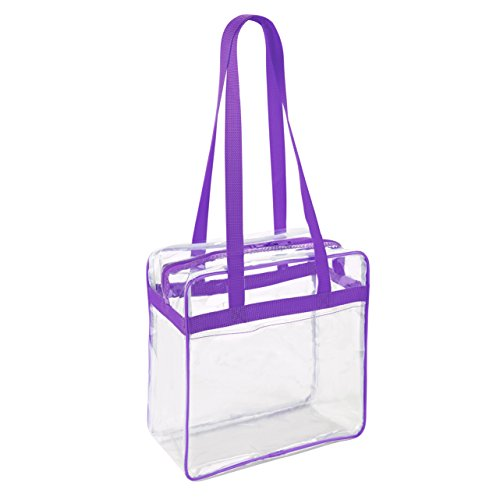 Clear 12 x 12 x 6 NFL Stadium/PGA Approved Tote Bag with 35'' Handles and Side Pocket - Purple Trim with White by Clear Handbags & More
