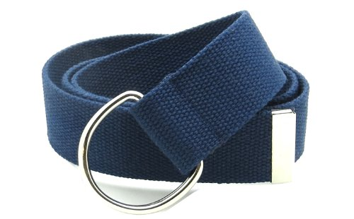 Navy Canvas Belt (Canvas Web Belt Double D-Ring Buckle 1.5