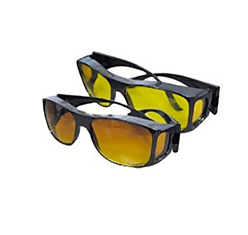 HD Vision Wraparounds Sunglasses/Night Vision Glasses Combo ()