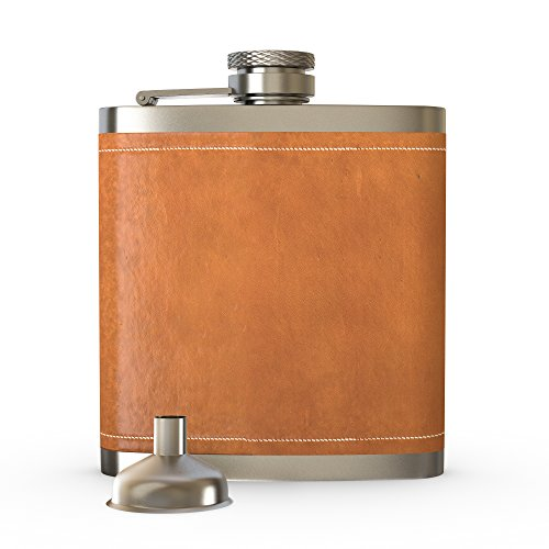 Flask Brown Leather, Hip Flask,2PCS