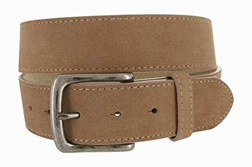 Casual Jean Genuine Suede Leather Belt for Men (Tan, 34) - Suede Leather Belt Strap