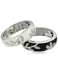 Sterling Silver Black and White Enamel Floral Stacking Rings with Diamond Accents (1/10 cttw, I-J Color, I2-I3 Clarity)