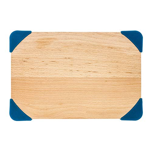 Beechwood Wood - SuperTown Beech Wood Cuttinging Board with Silicone Corner, non-slipping, double-side, Eco-friendly and safe (Beechwood, 16x12x0.7)