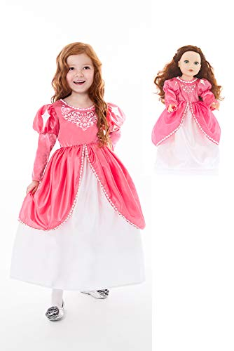Little Adventures Mermaid Ball Gown Princess Dress Up Costume & Matching Doll Dress (Small (Age 1-3)) -