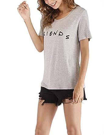 Cuihur Women's Summer Short Sleeve Friends T Shirt Loose Casual Graphic Tees Blouse Tops Gray S