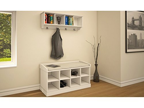 Kempton Hallway Storage Bench and Wall Storage Shelf Rack with Coat Hooks - Perfect Shoe Storage Unit (White)