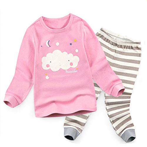 CuteMe Baby Girls Clothes Set Long Sleeve Cute Cloud Star Tops Striped Pants 2Pcs Outfits Girls Pajamas Winter(111,Pink,110) -