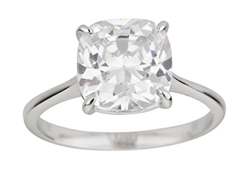 Sterling Silver Rhodium 10mm Cushion Cut Cubic Zirconia Solitaire Engagement Ring,8 (Solitaire 10mm)