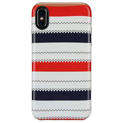 (iPhone X Case for Girls/iPhone Xs Case,GOLINK Glossy Series IMD Printing Slim-Fit Ultra-Thin Anti-Scratch Shock Proof Dust Proof Thin TPU Gel Case for iPhone X - Red Black Lines)