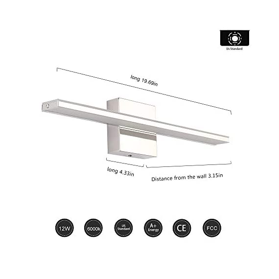 """Bathroom Vanity Light, BRIVOLART 19 Inch 12W LED Bathroom Vanity Lighting Fixtures Cool White Light 6000K - ✅[NEW DESIGN] Modern bathroom led vanity light. Ideal for using as lighting in bathrooms, bedrooms, over hospital beds, hallways, corridors, study rooms, stairways, workplaces, restaurants, hotel receptions. ✅[SPECIFICATIONS] Length :19.68"""" for 12W, distance from the wall: 3.22"""". Color temperature:6000K, Non-dimmable. ✅ [BEETER LIGHTING]: HIGH transmittance with acrylic cover, gives you perfect spotlight when you makeup, shave, read or display products. Stainless steel body with acrylic plating surface is durable, safe and easy to clean. - bathroom-lights, bathroom-fixtures-hardware, bathroom - 41eMX9UVIIL. SS570  -"""